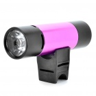 Rechargeable 2W 2-Mode White LED Flashlight + MP3 Music Speaker Player w/ FM/TF - Black + Deep Pink