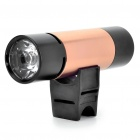 Rechargeable 2W 2-Mode White LED Flashlight + MP3 Music Speaker Player w/ FM/TF - Black + Golden