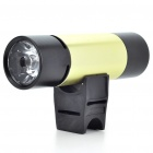 Rechargeable 2W 2-Mode White LED Flashlight + MP3 Music Speaker Player w/ FM/TF - Black + Green