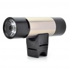 Rechargeable 2W 2-Mode White LED Flashlight + MP3 Music Speaker Player w/ FM/TF - Black + Silver