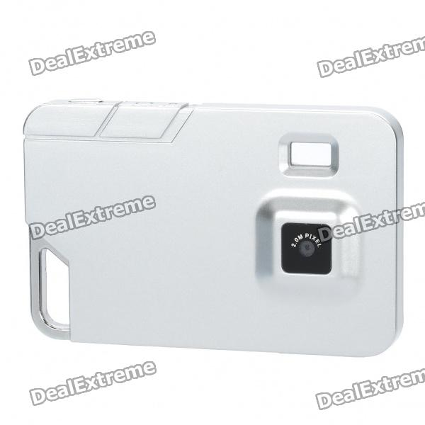 Ultra-Thin Card Style Rechargeable 2MP Digital Video Camera Camcorder with TF Slot - Silver