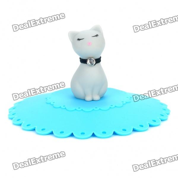 Cute Cat Style Silicone Coffee Mug Cover Cup Lid - Blue + Grey