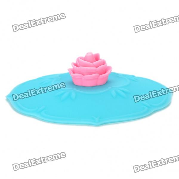 Beautiful Rose Style Silicone Mug Cup Cover Lid - Blue + Pink