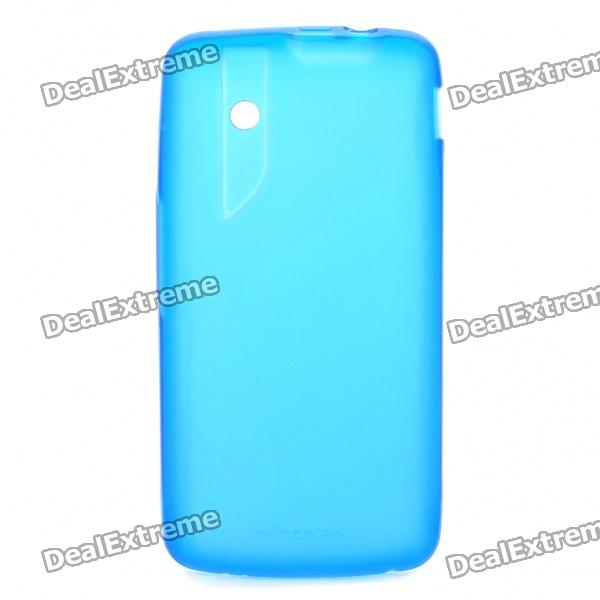 NILLKIN Protective Matte TPU Case w/ Screen Protector + Cleaner for ZTE V880 - Transparent Blue