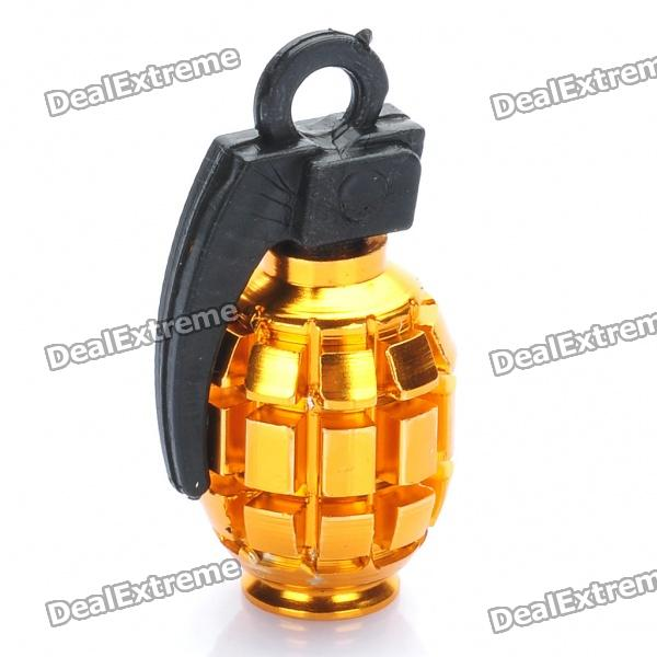 Cool Grenade Shaped Bicycle Bike Tyre Tire Valve Dust Cap Cover - Gold (2 Piece Pack)