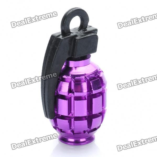 Cool Grenade Shaped Bicycle Bike Tyre Tire Valve Dust Cap Cover - Purple (2 Piece Pack)