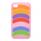 Stylish Rainbow Silicone Back Case for iPhone 4 - Colorful