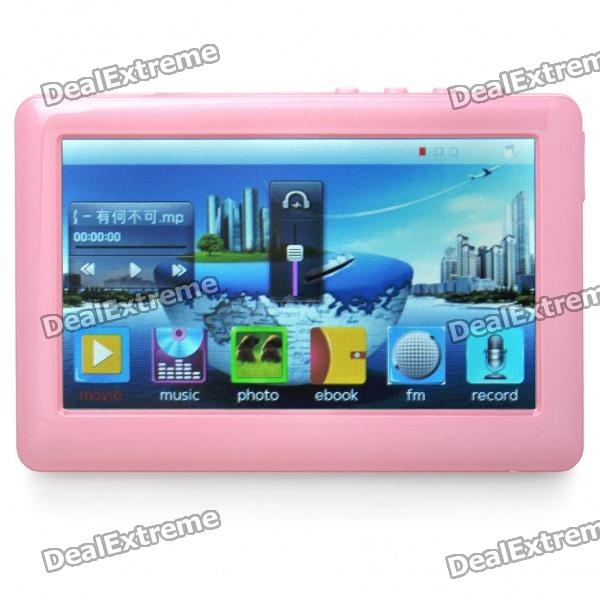 "Portable 4.3"" Touch Screen Multi-Media Player w/ FM / 3.5mm Jack / TV-Out / TF Slot - Pink (4GB)"