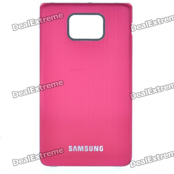 Protective Aluminum Alloy Wire Drawing zurück Fall für Samsung i9100 Galaxy S2 - Red