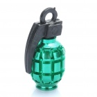 Cool Grenade Shaped Bicycle Bike Tyre Tire Valve Dust Cap Cover - Green (2 Piece Pack)