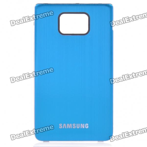 Protective Aluminum Alloy Wire Drawing zurück Fall für Samsung i9100 Galaxy S2 - Light Blue