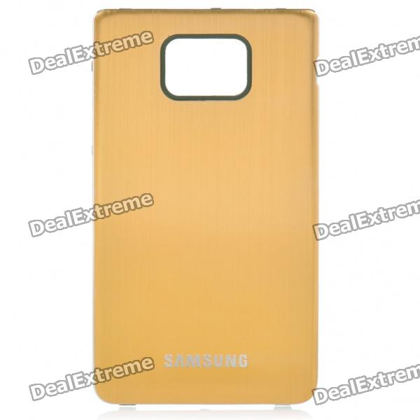 Protective Aluminum Alloy Wire Drawing zurück Fall für Samsung i9100 Galaxy S2 - Golden