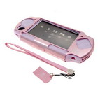 Aluminum Shell with Silicone Case and Leather Strap for PSP Slim/2000 (Pink)