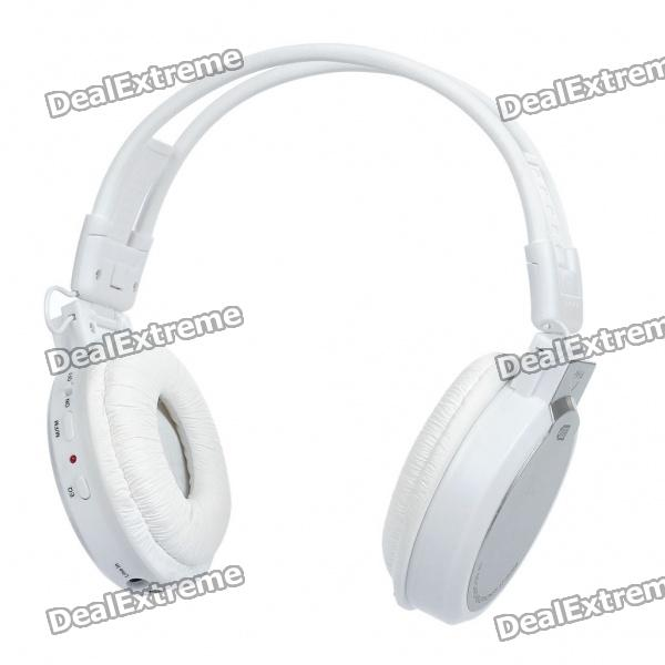 """Sports Folding 1.3"""" LCD MP3 Music Player Headphones with FM/SD - White"""