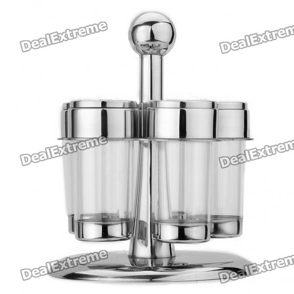 5-in-1 Kitchen Flavor Spice Pot Bottle Set - Silver + Transparent stainless steel 4 in 1 multifunction food grater kitchen tool silver