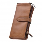 Designer's Cowhide Leather Long Style 2-Fold Wallet Purse - Coffee