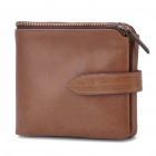 Designer's Cowhide Leather Horizontal Style 2-Fold Wallet Purse - Coffee