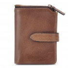Designer's Cowhide Leather Horizontal Style Wallet Purse - Coffee