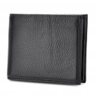 Designer's Cowhide Leather Horizontal Style 2-Fold Wallet Purse - Black
