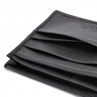 Cowhide Leather Horizontal Style 2-Fold Wallet Purse - Black
