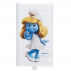 USB Rechargeable 1600mAh Emergency Power Battery w/ Adapters/2-LED Flashlight - Smurfette Pattern