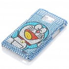 Cute Rhinestone Doraemon Pattern Protective Plastic Back Case for Samsung Galaxy S2 / i9100