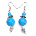 Blue Turquoise Double Bead Ear Drop Earring - Blue + Silver (Pair)