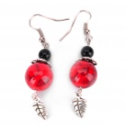 Red Turquoise Double Bead Ear Drop Earring - Red + Black (Pair)