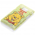 Shining Rhinestone Winnie Bear Pattern Protective Plastic Back Case for Samsung i9100
