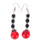 Red Turquoise 4-Bead Ear Drop Earring - Red + Black (Pair)