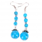 Blue Turquoise 4-Bead Ear Drop Earring - Blue + Silver (Pair)