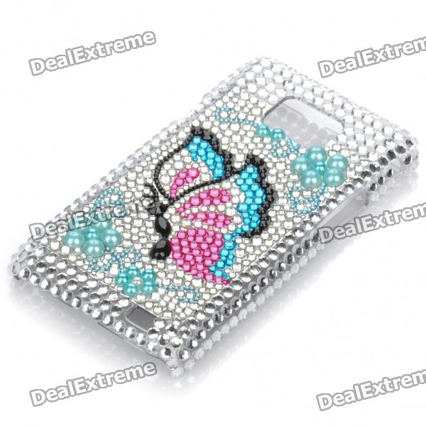Shining Rhinestone Butterfly Pattern Protective Plastic Back Case for Samsung Galaxy S2 / i9100