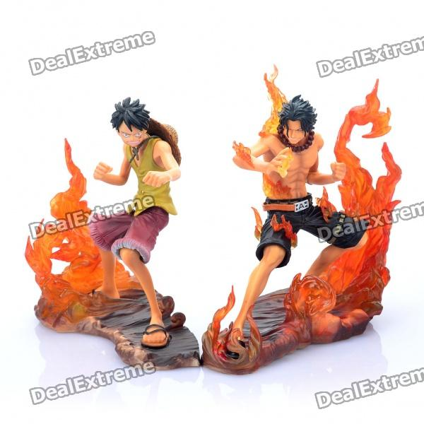 One Piece Fighting Monkey D Luffy and Portagas D Ace PVC Figures Toys