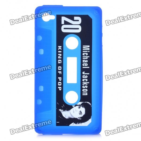 Michael Jackson Pattern Cassette Tape Style Protective Soft Silicone Back Case for iPhone 4 - Blue