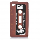 Michael Jackson Pattern Cassette Tape Style Protective Soft Silicone Back Case for iPhone 4 - Brown
