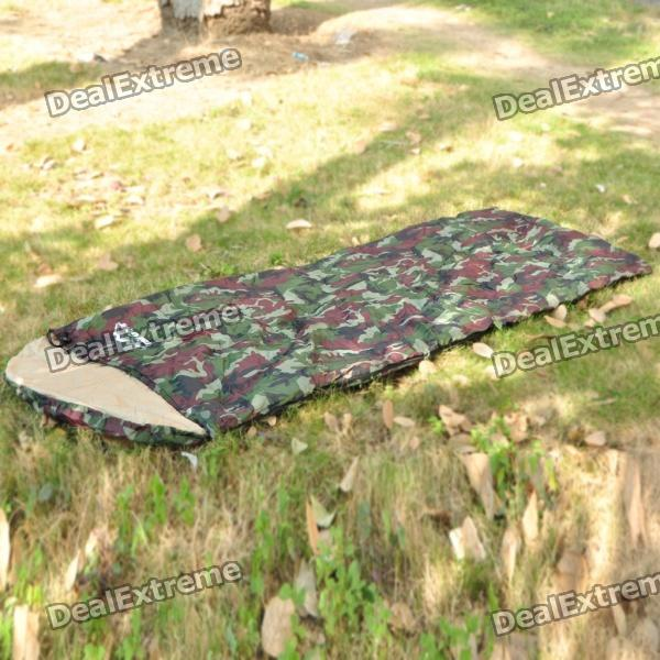 Camping Warm Rectangle Sleeping Bag - Camouflage Green