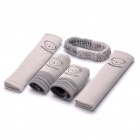 Universa Car Safety Belt + Rearview Mirror + Parking Brake + Gear Stick Sleeves Set - Random Color