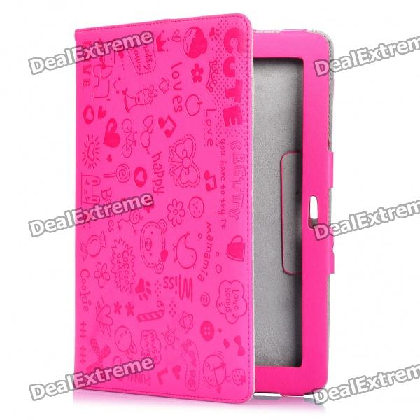 Cute Cartoon Patterns Protective PU Leather Case for Samsung P7510 - Deep Pink