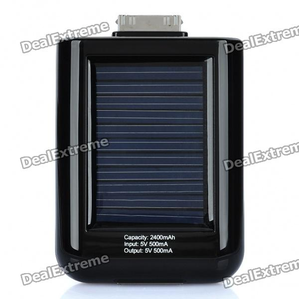 Solar Powered 2400mAh Portable Emergency Power Charger for iPhone 4/4S/3G/3GS - Black
