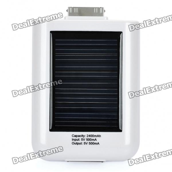 Solar Powered 2400mAh Portable Emergency Power Charger for iPhone 4/4S/3G/3GS - White