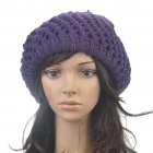 Fashion Woolen Yarn Knitted Double-Layer Beanie Beret Hat / Cap - Purple