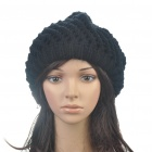 Fashion Woolen Yarn Knitted Double-Layer Beanie Beret Hat / Cap - Black