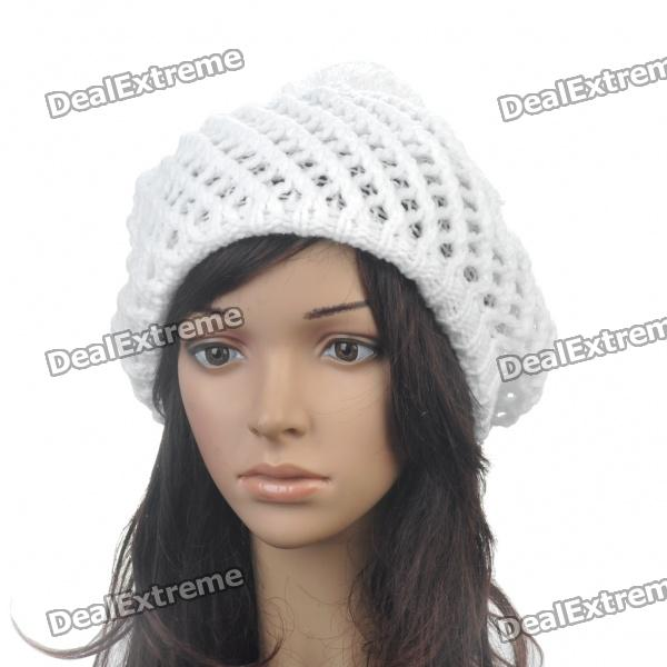 Mode aus Wolle Garn gestrickt Double-Layer Beanie Beret Hat / Cap - White