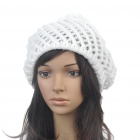 Fashion Woolen Yarn Knitted Double-Layer Beanie Beret Hat / Cap - White