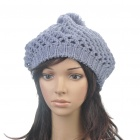Fashion Woolen Yarn Knitted Double-Layer Beanie Beret Hat / Cap - Grey