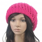 Fashion Woolen Yarn Knitted Double-Layer Beanie Beret Hat / Cap - Deep Pink