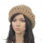 Fashion Woolen Yarn Knitted Double-Layer Beanie Beret Hat / Cap - Light Brown