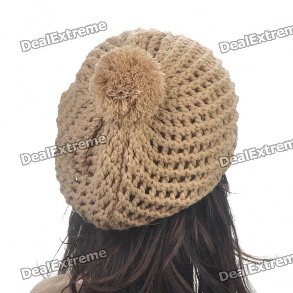 Knitting Pattern Double Layer Hat : Fashion Woolen Yarn Knitted Double-Layer Beanie Beret Hat ...