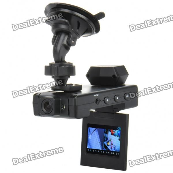 "Dual-3.0MP CMOS Objektiv Weitwinkel Auto DVR Camcorder w / 6-IR LED / TF / AV-Out (2,0 ""TFT LCD)"