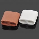 Silicone Square Scattered Wires Organizer - White + Coffee (Size-L/Pair)
